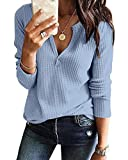 Women's V Neck Waffle Knit Henley Tops Casual Long Sleeve Pullover Sweater Blouses (Light Blue, X-Large)