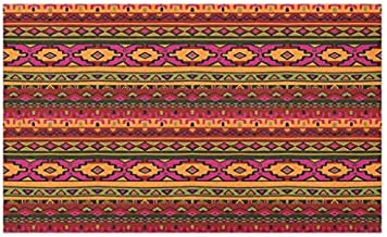 Lunarable Aztec Doormat, South American Abstract Borders Mexican Peruvian Folk Art Elements Boho Doodle, Decorative Polyester Floor Mat with Non-Skid Backing, 30