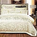 yaonuli Bett Baumwolle Satin Jacquard vierteilige Baumwollbettlakenbeige 1,5 Bett (5 Fuß) vierteilig