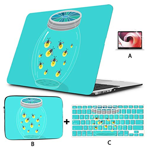MacBook Pro 13 Cases Firefly Insect Flying Light Laptop Pro Accessories Hard Shell Mac Air 11'/13' Pro 13'/15'/16' with Notebook Sleeve Bag for MacBook 2008-2020 Version