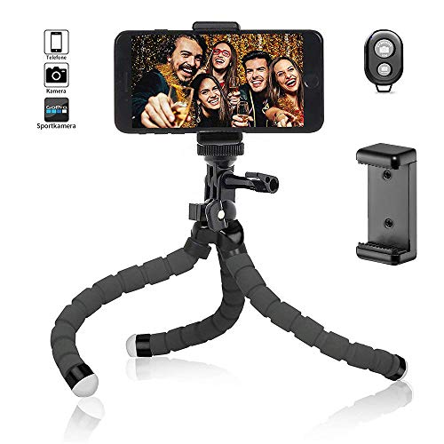Handy Stativ Flexibel iPhone Stativ Halterung Kamera Stativ Mini Dreibeinstativ Reisestativ mit Bluetooth Fernbedienung für iPhone, Android Phones, Kameras, und GoPro