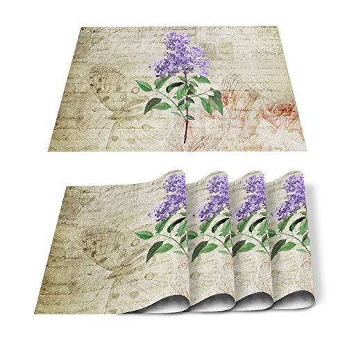 FAMILYDECOR Pack of 6 Placemats for Wedding Hand Drawn Lavender Flowers Vintage Background - Stain Proof Place Mats for Dining Tabletop Protect, Non Slip Table Mats - Cotton Linen