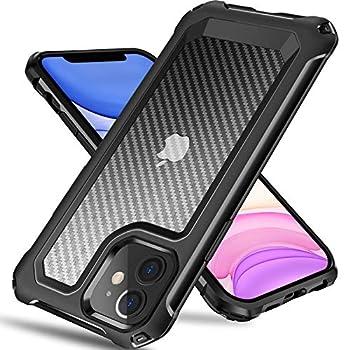 Tuerdan iPhone 11 Case [Military Grade Shockproof] [Hard Carbon Fiber Back] [Soft TPU Bumper Frame] Anti-Scratch Fingerprint Resistant Protective Phone Case for iPhone 11 6.1 Inch  Black