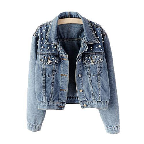 Avondii Damen Jeansjacke mit Perlen Kurz Blau Denim Jacke Tops (XS, Blau)