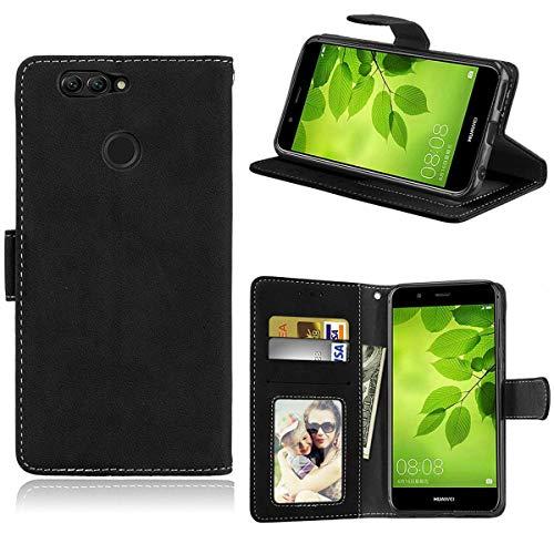 Sangrl Lederhülle Schutzhülle Für Huawei Nova 2 Plus, PU-Leder Klassisches Design Wallet Handyhülle, Mit Halterungsfunktion Kartenfächer Flip Hülle Schwarz