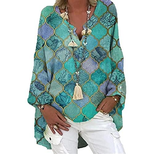 Camisa Holgada De Mujer, Camisa Casual, Blusa De Color SóLido De Manga Larga, Camisa Irregular con Estampado De Cuello En V De Primavera, Blusa De Gran TamañO Retro para Mujer