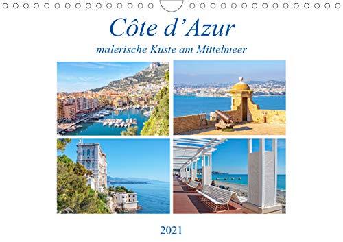 Côte d'Azur - malerische Küste am Mittelmeer (Wandkalender 2021 DIN A4 quer)