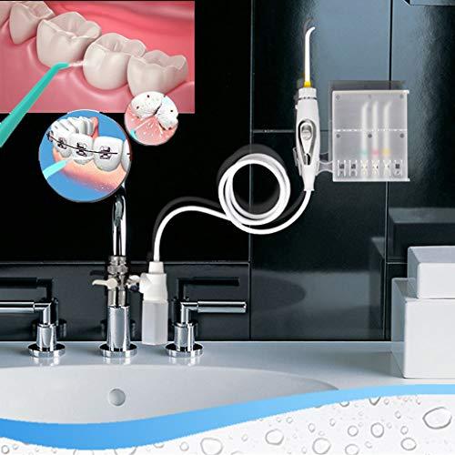 Haushalt Munddusche Wasserstrahl Flosser Munddusche Zahnbürsten Sets, Verbunden mit dem Wasserhahn, mit 6 Ersatzdüsen