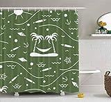 Rideau de douche cerf, rideau de douche rideau de douche enfants rideau de douche avec crochets motif mignon île de poissons palmiers hamac ancre soleil automne rideau de douche décor étanche salle de