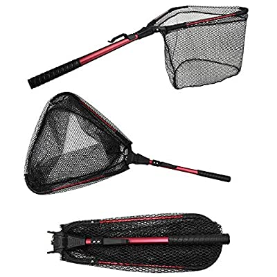 YVLEEN Folding Fishing Net - Foldable Fish Landing Net Robust Aluminum Telescopic Pole Handle and Safe Fish Catching or Releasing for Durable and Nylon Mesh 16inch Hoop Size …