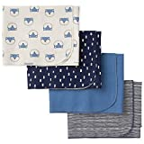 GERBER Baby Boys 4-Pack Flannel Receiving Blanket, Awesome Fox, One Size