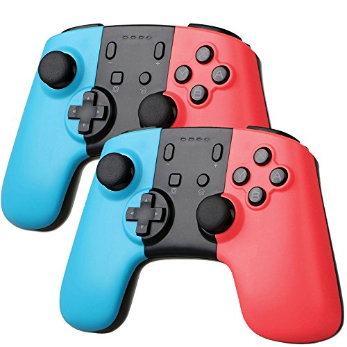 Sunjoyco 2 Pack Wireless Controller for Nintendo Switch, Remote Pro Controller Gamepad Joystick Compatible with Nintendo Switch Console, Supports Gyro Axis and Dual Vibration