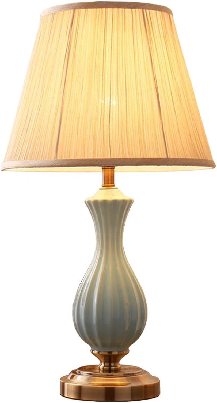 Hlqw Amerikanische Keramik Tischlampe Schlafzimmer Nachttischlampe