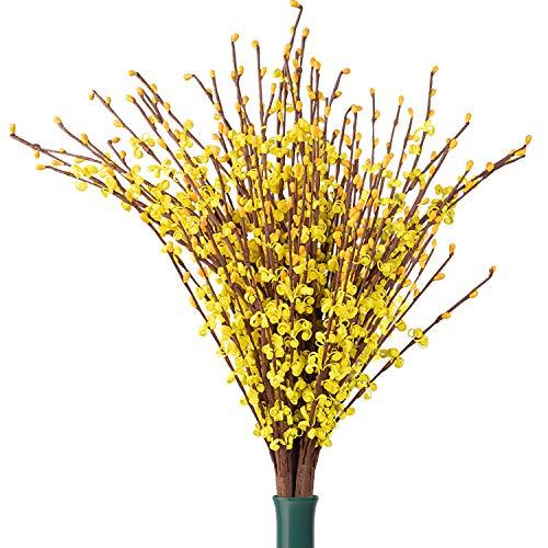 Jazmín Flores artificiales(12 Pcs) - 75cm Tallos de Jazmín Realistas artificiales largos para su hogar, oficina, dormitorio, cocina, sala de estar - Falsas Flores para Arreglos Florals (Amarilla)