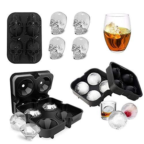 SHR-GCHAO Ice Ball Mold, Runde Kugel-Maker & Diamant-Tray & 3D Schädel Eiswürfel, Große EIS-Würfel-Form Für Whiskey Cocktail Oder Babynahrung (3Pcs)
