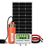 ECO-WORTHY Solar Well Pump Kit with Battery Backup, 12V Solar Water Pump + 100W Solar Panel Kit + 6Ah Battery for Well, Irrigation, Filling Water Tank-DELIVERY IN 2 PARCELS