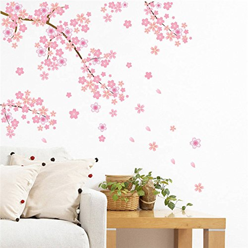 Pegatina pared vinilo decorativo arbol cerezo almendro rosa para salon dormitorios niñas hall escaleras de CHIPYHOME
