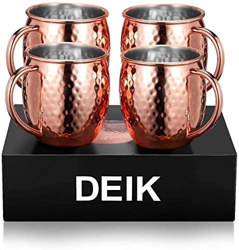 DEIK Moscow Mule Becher, Kupferbecher, Tassen Set 4er mit Gehämmert, Doppelwandig, Keine Beschichtung, Rein, 530ml Handgefertigt Kupfertassen Großartig für Cocktail Gekühlte Getränk, Vodka, Geschenk