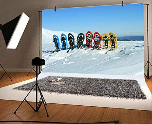 6x6FT Vinyl Wall Photography Backdrop,Sports,Man Skiing on Snowy Hills Background for Baby Shower Bridal Wedding Studio Photography Pictures