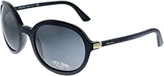 Prada PR 09VS 1AB5S0 Black Plastic Oval Sunglasses Grey Lens