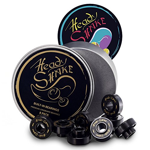Heady Shake Pro Longboard Bearings Built-in Spacers and Washers - Longboards, Skateboards, Inline Skates, Quads - Frictionless Surface - Ultra-Fast - Downhill, Dancing, Freeride Use - 8-Pack