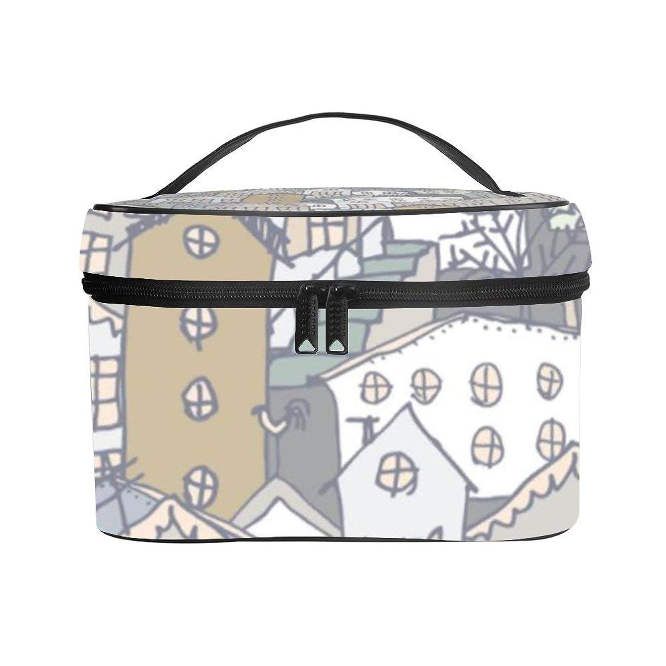 防止資格熱心メイクぼっくす PUレザー コスメボックス バニティポーチ 都市 ウィンター 風景 化粧ボックス メイクブラシバッグ トラベルバッグ 人気 かわいい 大容量 機能的