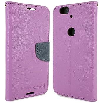 Google Nexus 6P Wallet Case CoverON [Carryall Series] Flip Folio Card Slot Pouch Cover Screen Protector + Strap Case for Google Nexus 6P - Purple & Navy Blue