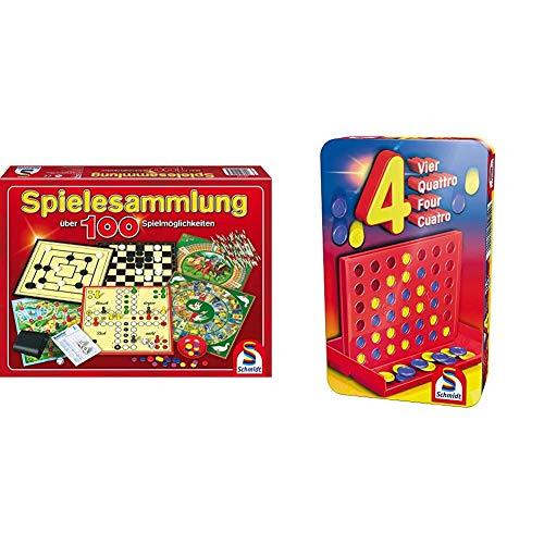 Schmidt Spiele 49147 - Spielesammlung, MIt 100 Spielmöglichkeiten & 51214 BMM Vier, Bring Mich mit Spiel in der Metalldose, bunt