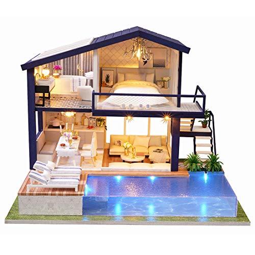 GODNECE Casa de Muñecas con Luces DIY Miniature House Miniatura de Madera Kits de Mueble