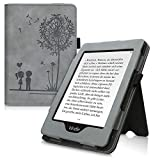 kwmobile Flip Hülle kompatibel mit Amazon Kindle Paperwhite (10. Gen - 2018) - Handschlaufe - Cover Pusteblume Love Grau