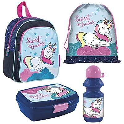 Unicornio Mochila de guardería de 4 piezas, con fiambrera, botella y bolsa de deporte, diseño de arcoíris Be Magical