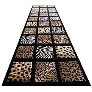 Modern Runner Area Rug Animal Prints Design SC 251 Black (32 Inch X 10 Feet)