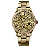 Mens Bronze Automatic Watch Self-Winding Mechanical Steampunk Skeleton Stainless Steel Watches (Bronze)