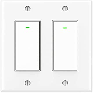 Smart Light Switch 2 Gang, Alexa Switch Work with Google Home and IFTTT, Voice and Remote Control, 2.4G WIFI, Schedules and Timers, Single-Pole, No Hub Required, Neutral Wire Required