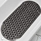 DEXI Bathtub Mat Non Slip Shower Floor Mats for Bathroom Bath Tub Washable Suction Cup 16'x35',Clear Black