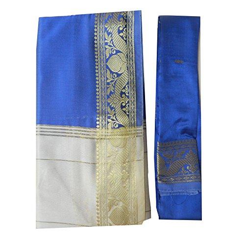 Sari brocado azul beige dorado vestido tradicional de la India ropa instrucciones bindis