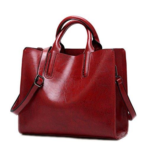 Bolsos para Mujer Bolsos Mujer Bolso Suave diseñador Mujer Bolsas bandoleras Bolso Hembra DF0013 Rojo Vino