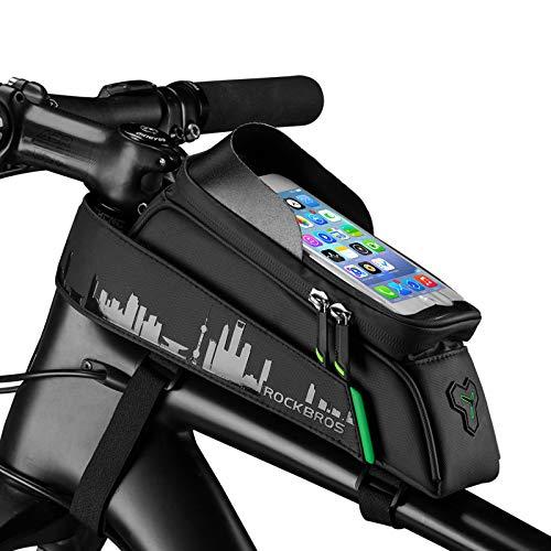 """ROCKBROS Bolsa de Cuadro Tubo Superior de Bicicleta Montaña MTB Impermeable con Pantalla Táctil para Móvil de 6,0"""" para iPhone X XS MAX 7 8 Plus Galaxy S9 Note7"""