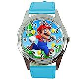 Orologio al quarzo rotondo, cinturino in pelle blu, motivo: idraulico Super Mario