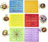 Think Fast Toys - Translucent Plastic GeoBoard Set in Assorted Colors with Highly Elastic Rubber Bands (6 Peg Boards Included) - STEM and Learning From Home Toys