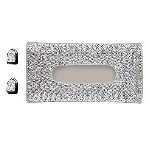 ZHHOOHAG Car Tissue Holder Car Tissue Holder Automobile Sun Visor Decoration Crystals Napkin Box ​Storage Case Clips Hook Dispense Car Tissue Box