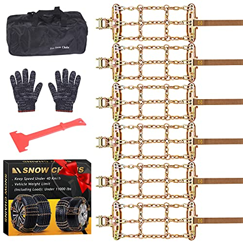Tire Snow Chains for SUV Trucks Pickup Family Automobiles Vehicles Pickup for Ice, Snow,Mud,Sand,Applicable Tire Width 225-315 mm /8.8-12.41in 2021 UPGRADE(6PCS)