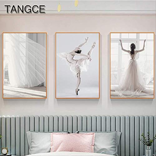 LWJZQT afbeelding op canvas, 3 stuks, abstract, mooie bruidsjurk, wit schilderij voor meisjes, modern kunstwerk voor ballet, schilderij voor meisjes, posters en print