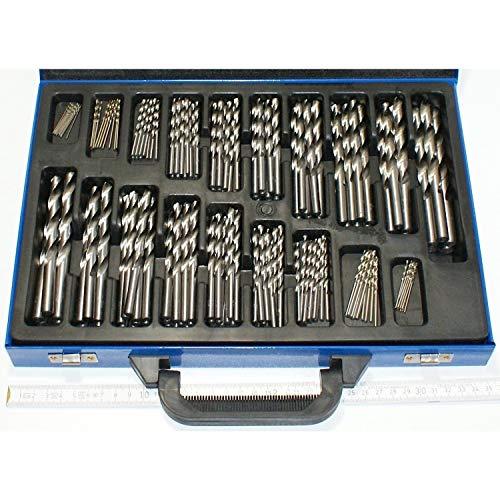 170 Stück Stahlbohrer HSS von 1 bis 10 mm Durchmesser um 0,5 steigend in guter Qualität. Sortiment Bohrer, Eisenbohrer, Metallbohrer Set, sortiert im Stahlblech-Koffer