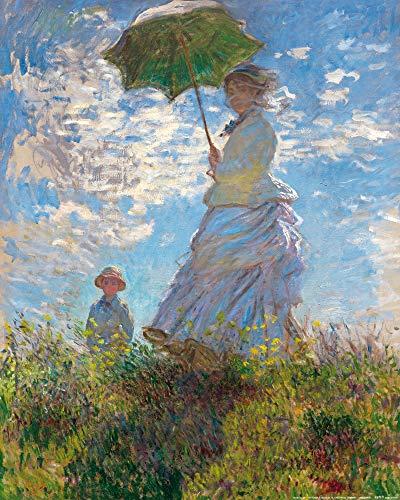 1art1 Claude Monet - Frau Mit Sonnenschirm, Madame Monet Mit Ihrem Sohn, 1875 Poster Kunstdruck 50 x 40 cm