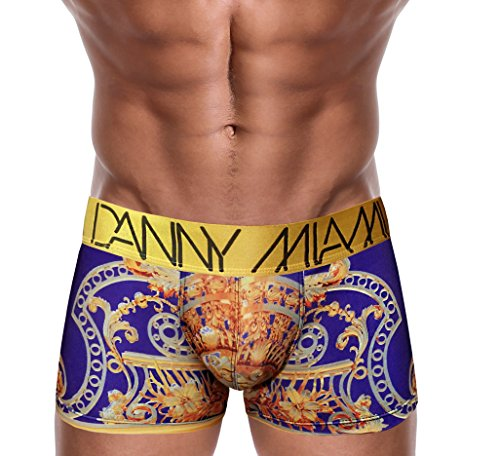 "Danny Miami Men's Underwear - Boxer Briefs in Multiple Colors Patterns & Designs - Athletic Low Rise Short Cut - New Vintage Emperor X-Large 34""-36"" Gold"