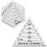 CODIRATO 2 Pezzi Quilting Righello Triangolo Esagonale Righello Patchwork Modelli di Taglio in Acrilico per Cucito