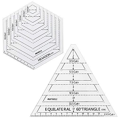 CODIRATO 2 Stück Quilten Lineal Acryl Patchwork Lineal Messlineal Dreieck Sechseck Quilting Lineal Vorlagen Transparent Ruler Vorlage für DIY Nähen Basteln Handwerk Handarbeit Schneider