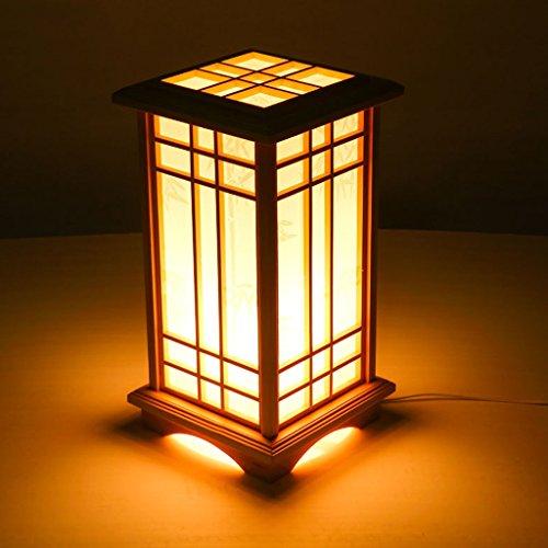 Ywyun Haute luminosité des lampes à économie d'énergie LED, de style japonais lampes en bois, salle de décoration chambre salle européenne de lampe de table de chevet créative (Color : Warm light)