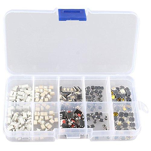 HALJIA Kit de 250 unidades de SMD botones e interruptores varios con caja de plástico